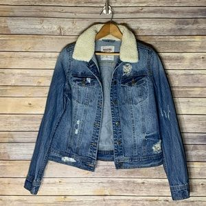 Distressed Jean jacket with faux shearling trim